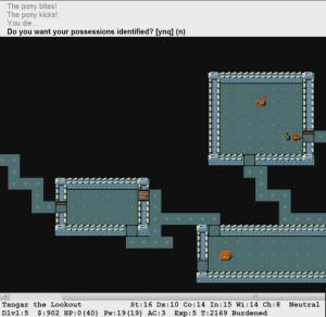 В NetHack довольно популярен графический интерфейс. В данном случае вы видете, как храбрый герой был запинан вредным пони до смерти. Эх... Я так хотел оседлать его и покататься верхом